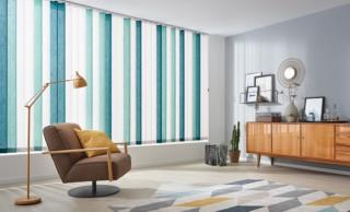 LEHA Sonnenschutz nach Maß Vertikaljalousie mit mehrfarbigen Behang